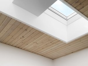 skylight in bedroom with timber roofing in auckland