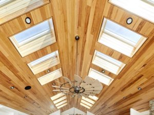 skylights in living room with timber ceiling in christchurch