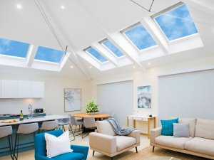 skylights in living room with blue and white interior in christchurch
