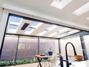 outdoor patio skylights photographed from inside in wellington