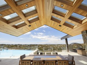 skylights in patio area with timber ceiling and pool in wellington