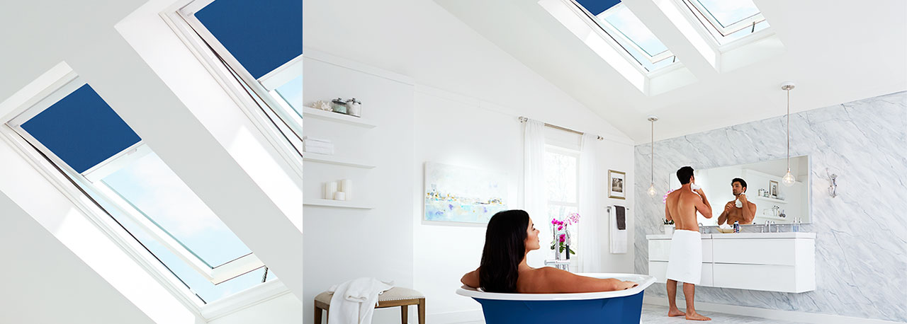 Skylights In The Bathroom With Shades