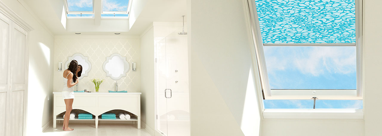 Ordinaire Skylights For The Bathroom With Blue Blinds