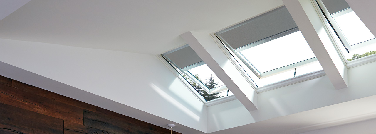 Bathroom Skylights With Gray Blackout Blinds