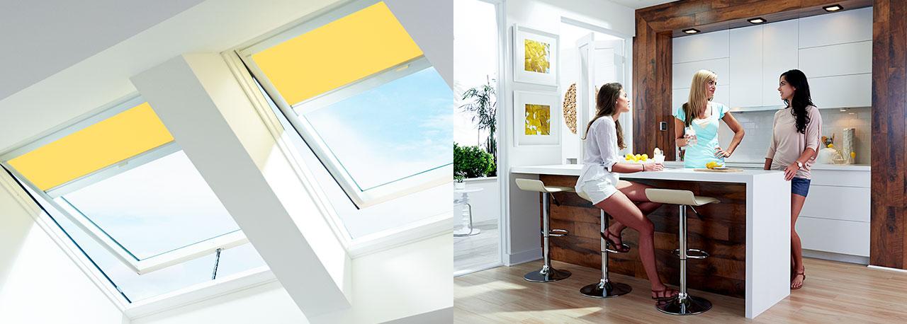 Kitchen Skylights Yellow Blinds Fresh Air