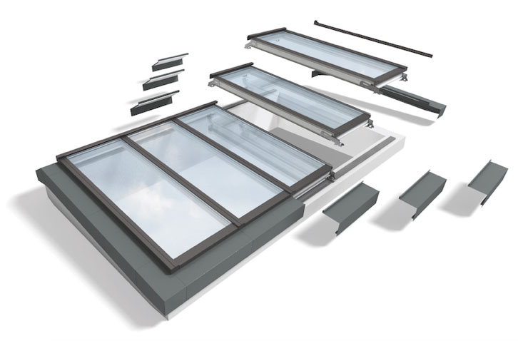 Skylight modules are mounted on a patented system of steel plates on the curbs, making installation quick and simple.