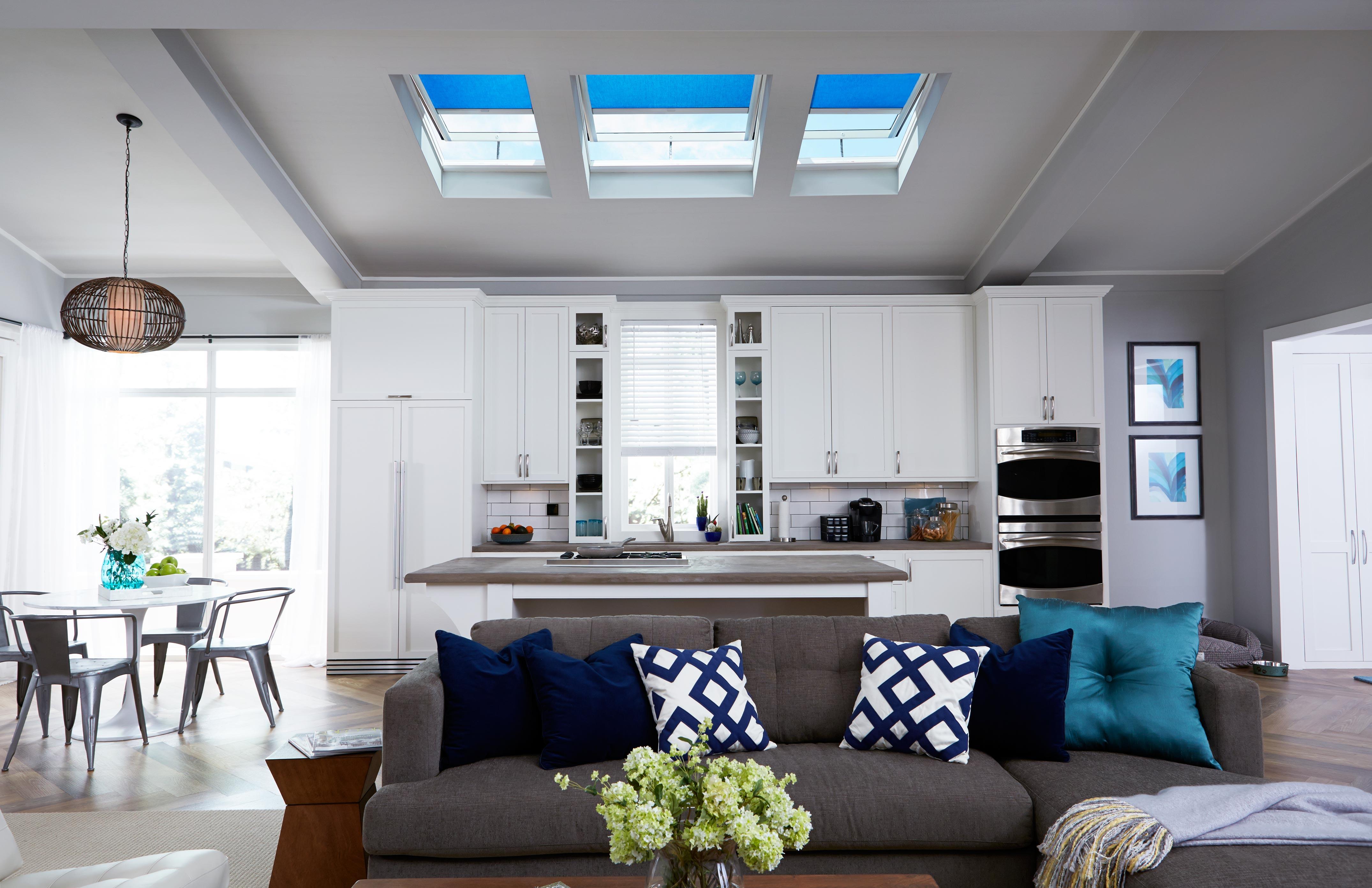 Skylights Blinds · Living Room Skylights