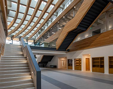 Atrium skylights for ventilating office space at UKHO