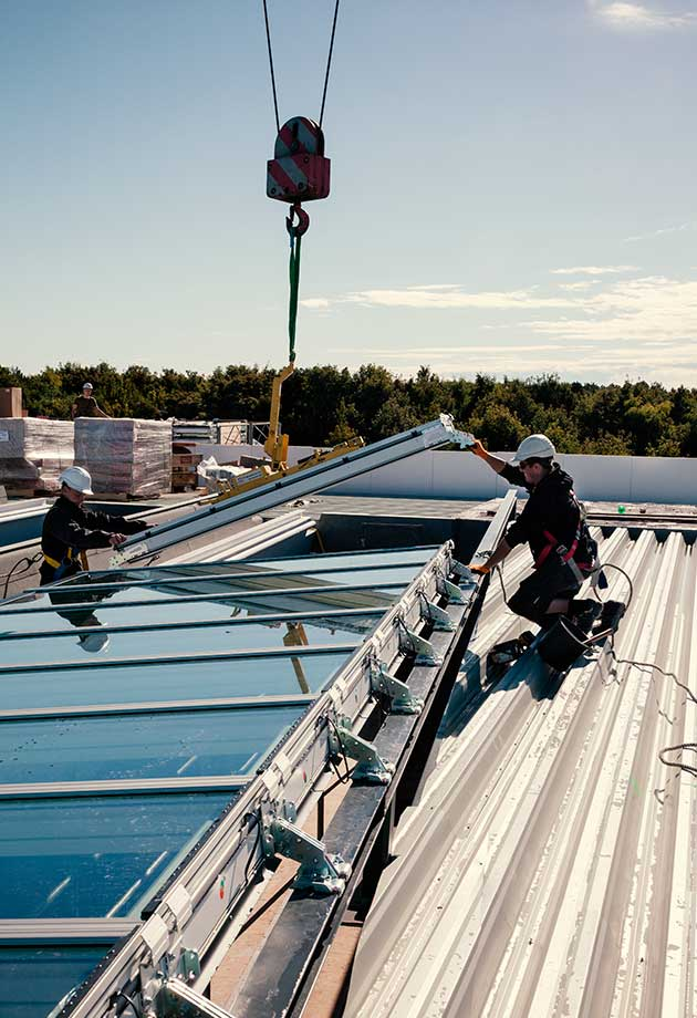 Rooflights solution with Atrium Longlight 5-30˚, DSV Headquarters, Denmark
