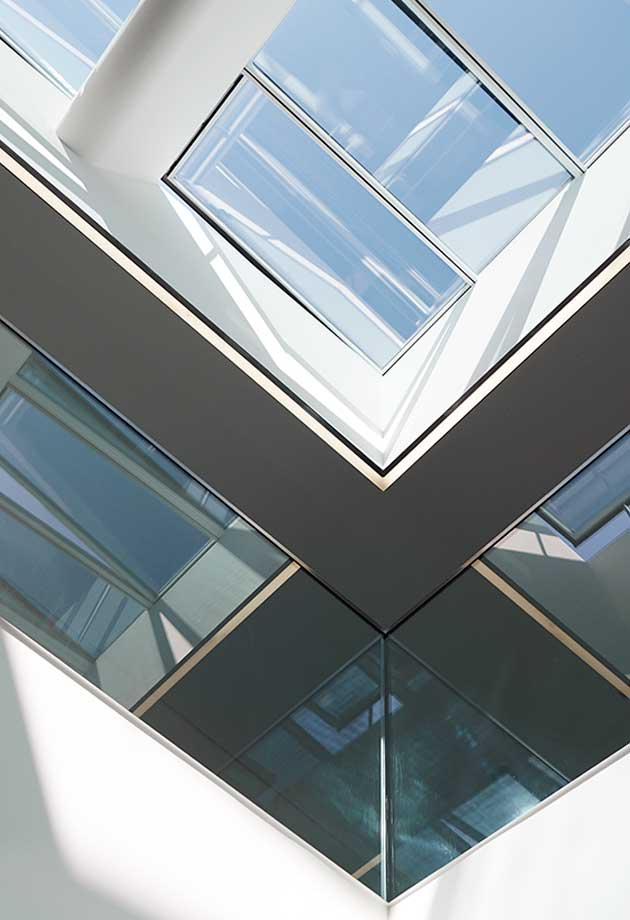 Rooflight solution with Atrium Longlight 5-30˚ and Atrium Ridgelight 5˚ with Beam, DZNE, Bonn, Germany