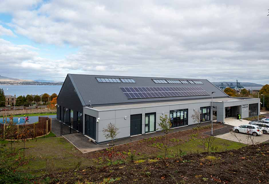 29 rooflights in a 35° roof at Glenpark Early Learning Centre, Scotland