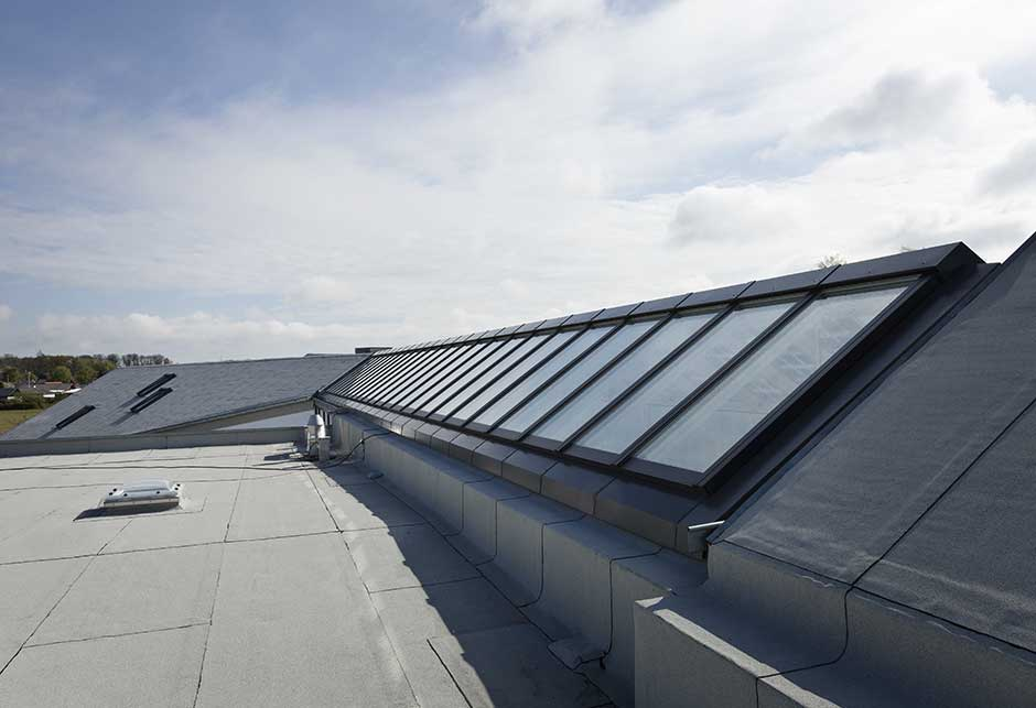 Rooflight solution with Atrium Ridgelight 25-40˚ with Photovoltaic Glazing, Green Solution House, Rønne, Denmark