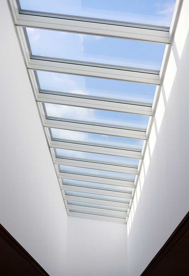 Rooflight solution with Longlight 5-30˚ modules, Hessenwaldschule, Weiterstadt, Frankfurt, Germany