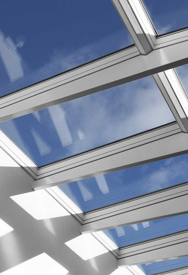 Rooflight solution with Ridgelight 5˚ with beams, Roskilde Katedralskole, Denmark