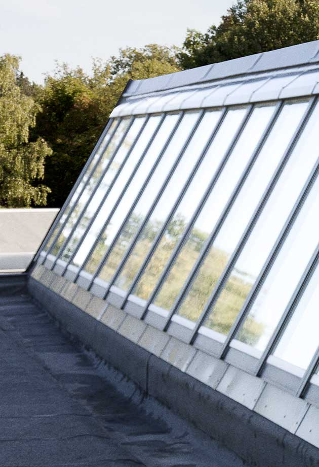 Rooflight solution with Northlight 40-90˚ modules, Sågbäcksgymnasiet, Huddinge, Sweden
